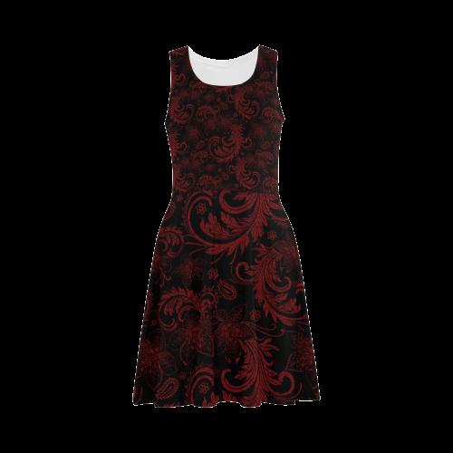 Elegant vintage flourish damasks in  black and red Atalanta Sundress (Model D04)