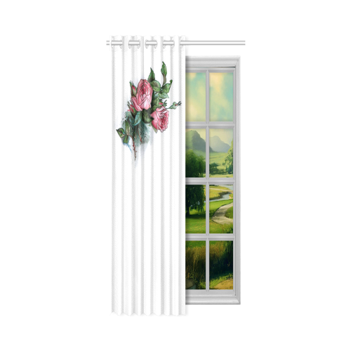 """Roses Vintage Floral New Window Curtain 50"""" x 108""""(One Piece)"""
