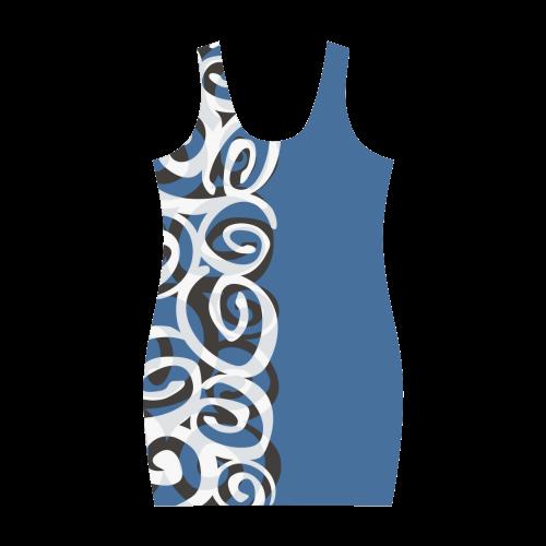 Black White Grey SPIRALS pattern ART Medea Vest Dress (Model D06)