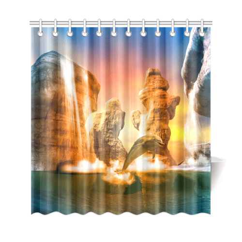 Funny Dolphin Jumping In The Sunset Shower Curtain 69x72