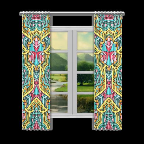 "Zandine 0403 bright pink yellow blue pattern Window Curtain 52""x120""(Two Piece)"