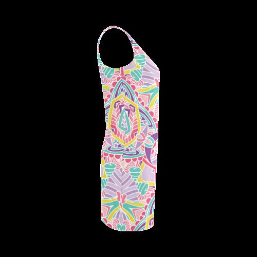 Zandine 0309 pink purple teal bold pattern Medea Vest Dress (Model D06)