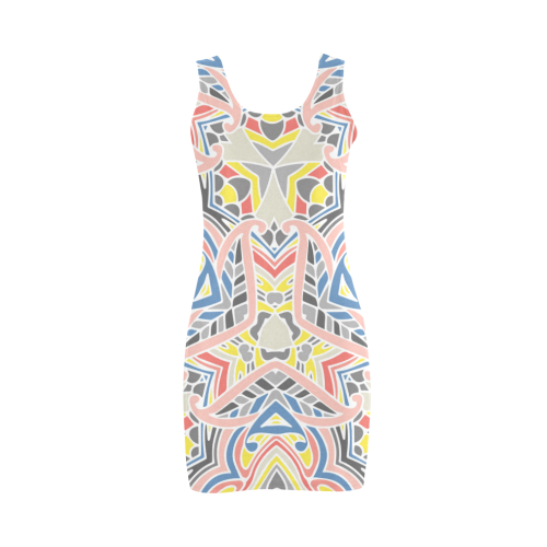 Zandine 0411 modern grey pink yellow pattern Medea Vest Dress (Model D06)