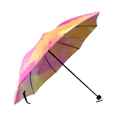 Pink, Orange and Yellow watercolors umbrella Foldable Umbrella (Model U01)