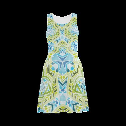 Zandine 0408 green leaf blue watercolor pattern Atalanta Sundress (Model D04)