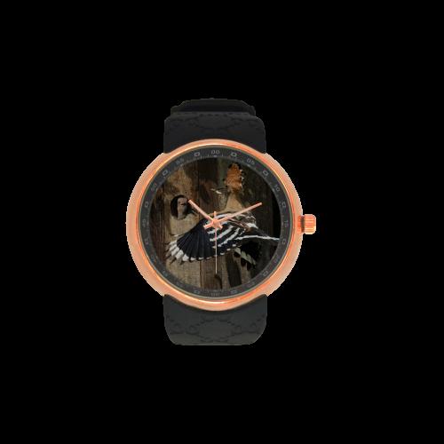Upupa epops Hoopoe Wiedehopf Men's Rose Gold Resin Strap Watch(Model 308)
