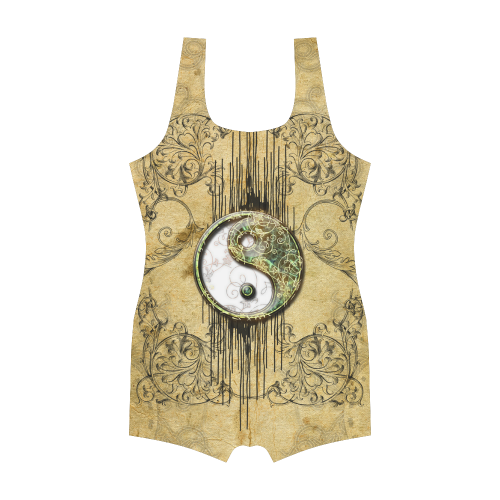 Ying and yang with decorative floral elements Classic One Piece Swimwear (Model S03)