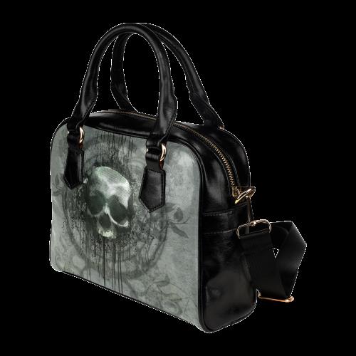 Awesome skull with bones and grunge Shoulder Handbag (Model 1634)