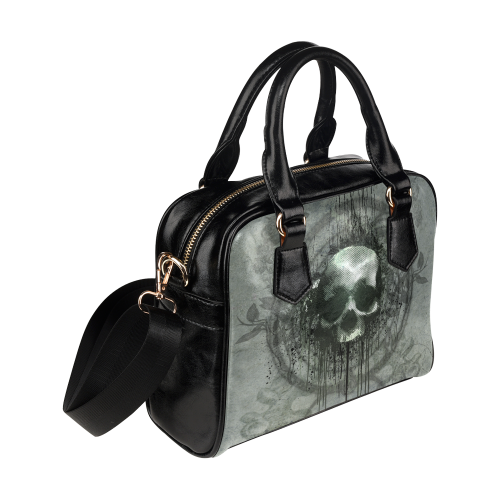 Awesome skull with bones and grunge Shoulder Handbag (Model 1634)