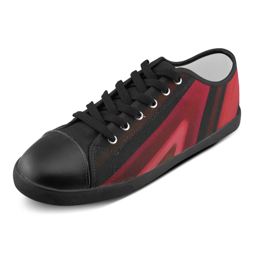 Red and Black Modern Abstract Men's Canvas Shoes (Model 016)