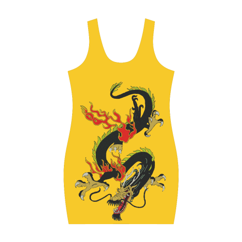 Chinese Dragon Black Medea Vest Dress (Model D06)