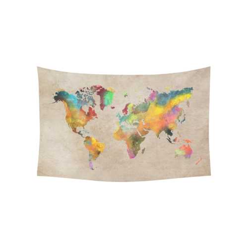 """world map 17 Cotton Linen Wall Tapestry 60""""x 40"""""""