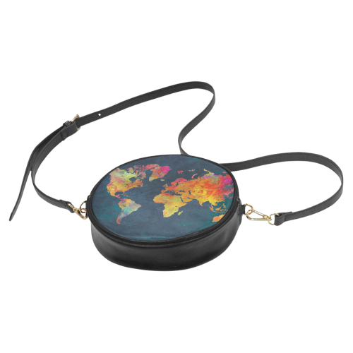 world map 16 Round Sling Bag (Model 1647)