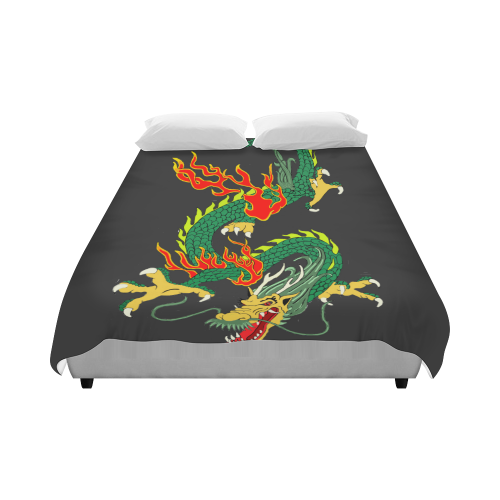 """Chinese Dragon Green Duvet Cover 86""""x70"""" ( All-over-print)"""