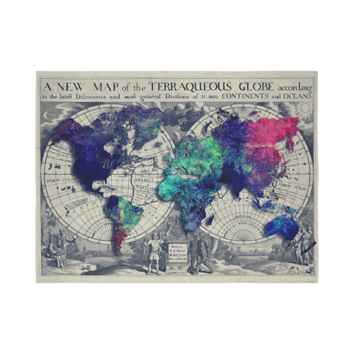 """world map 22 Cotton Linen Wall Tapestry 80""""x 60"""""""