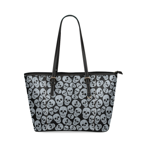Gray Skulls Leather Tote Bag/Large (Model 1640)