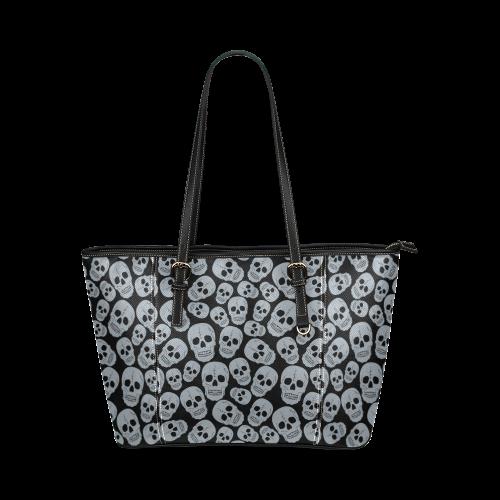 Gray Skulls Leather Tote Bag/Large (Model 1640)
