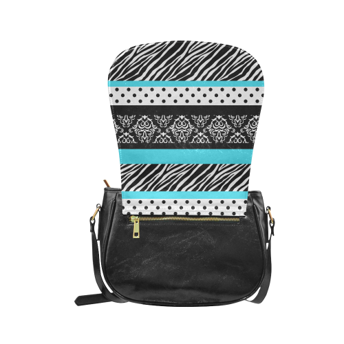 Safari Turquoise Black Damask Zebra Animal Print Polka Dots Classic Saddle Bag/Large (Model 1648)