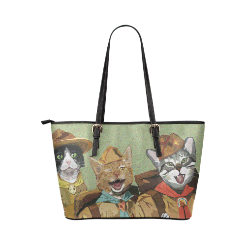 Cat Scouts Leather Tote Bag - Large Leather Tote Bag/Large (Model 1651)