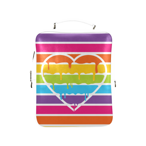 rainbow heart stripes Square Backpack (Model 1618)