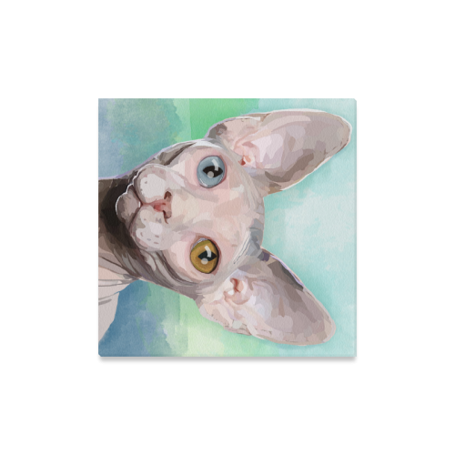 "Sphynx Cat - Watercolor Canvas Print 16""x16"""