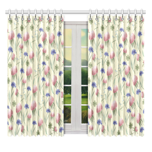 """Field of wild flowers Window Curtain 52"""" x 63""""(One Piece)"""