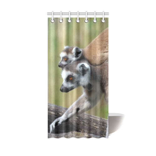Ring-Tailed Lemur Catta Katta Mother And Baby Shower Curtain 36\