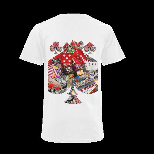 Spade Playing Card Shape - Las Vegas Icons Men's V-Neck T-shirt (USA Size) (Model T10)