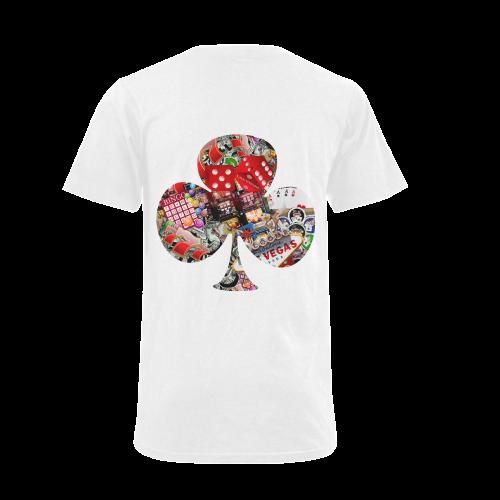 Club Playing Card Shape - Las Vegas Icons Men's V-Neck T-shirt (USA Size) (Model T10)