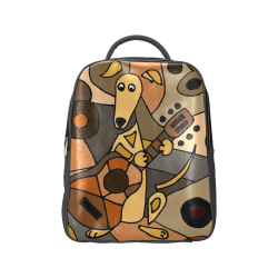 Funny Greyhound Dog Playing Guitar Abstract Art Popular Backpack (Model  1622) 86200b8edf410
