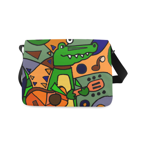 Funny Funky Alligator Playing Guitar Abstract Art Messenger Bag (Model 1628)   0b0fbaad5018e