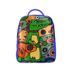 Funny Funky Alligator Playing Guitar Abstract Art Popular Backpack (Model  1622) bfc173b2324df
