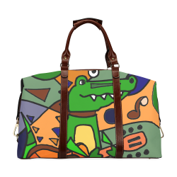 Funy Alligator Playing Guitar Abstract Art Classic Travel Bag (Model 1643) a5cf8f2733aab