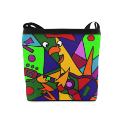 Funny Funky Rooster Playing Guitar Abstract Art Crossbody Bags (Model 1613) 60c81945a62db