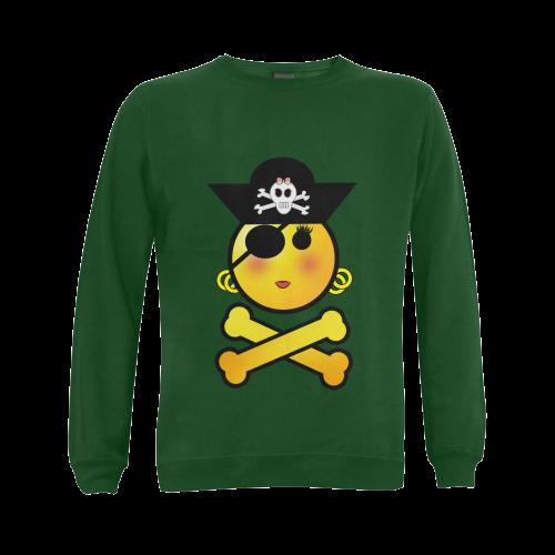 Pirate Emoticon - Smiley Emoji Girl Gildan Crewneck Sweatshirt(NEW) (Model H01)