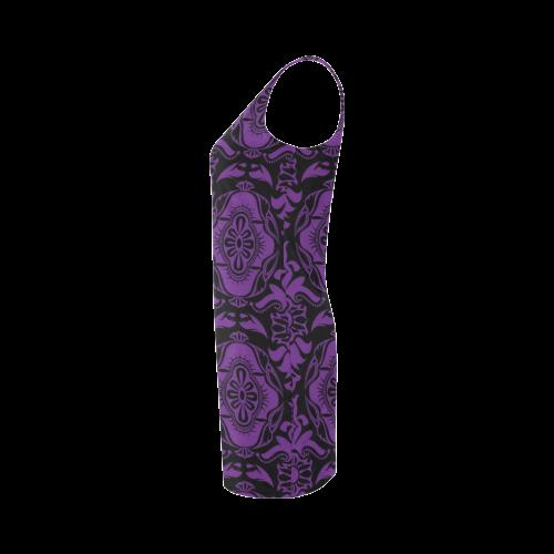 Halloween Goth Purple Damask Medea Vest Dress (Model D06)
