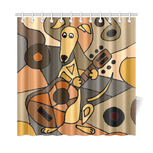 Funny Greyhound Dog Playing Guitar Abstract Art Shower Curtain 72x72