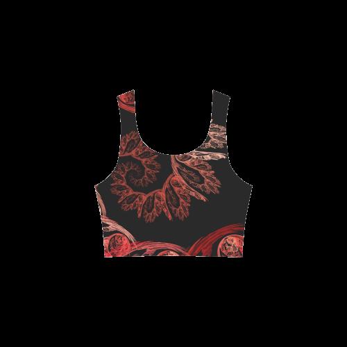 Elegant Red Black Floral Swirl Fractal Atalanta Sundress (Model D04)