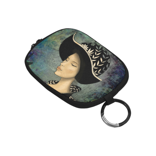 in black beautiful woman girl lady art illustration portrait hat Coin Purse (Model 1605)