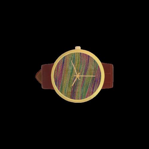 sand undulations wristwatch Women's Golden Leather Strap Watch(Model 212)