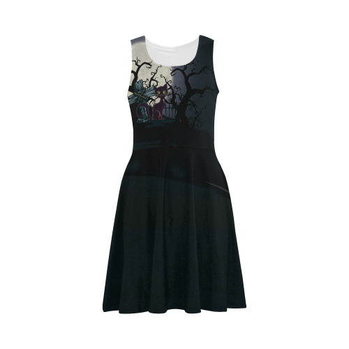 Vintage Halloween Cemetery Cat Atalanta Sundress (Model D04)