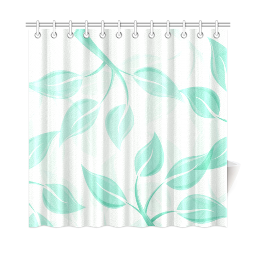 Green Leaves On Branches Shower Curtain 72x72