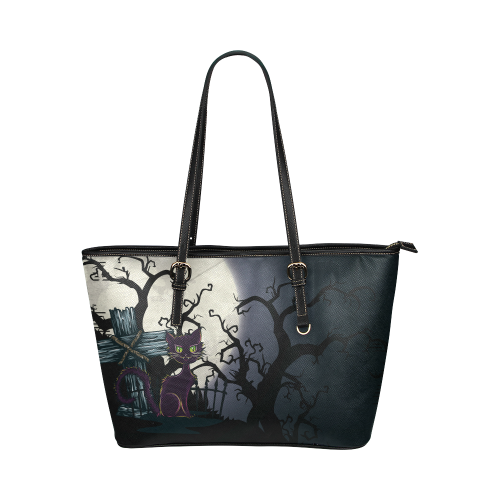 Vintage Halloween Cemetery Cat Leather Tote Bag/Large (Model 1651)