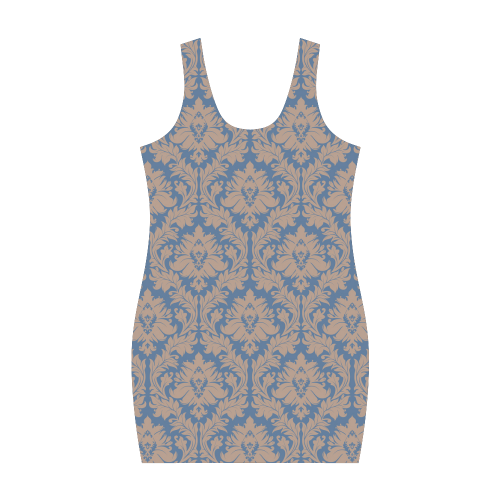 autumn fall colors beige blue damask Medea Vest Dress (Model D06)