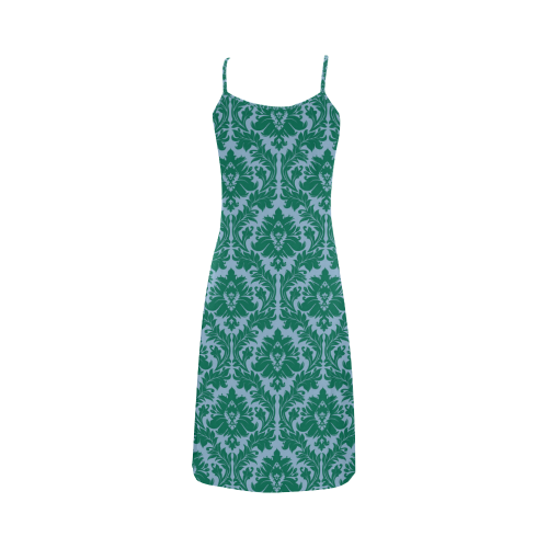 autumn fall colors green blue damask Alcestis Slip Dress (Model D05)