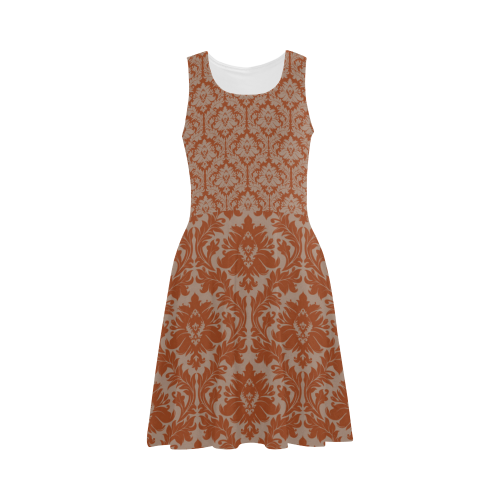autumn fall color red beige damask Atalanta Sundress (Model D04)