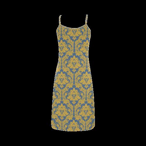 autumn fall colors yellow blue damask Alcestis Slip Dress (Model D05)