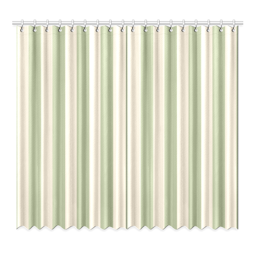"Stripes in Sage and Tan Window Curtain 52""x96""(Two Piece)"