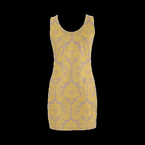 autumn fall colors yellow beige damask Medea Vest Dress (Model D06)