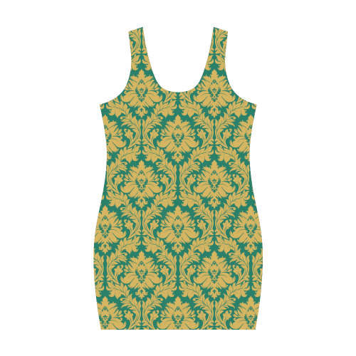 autumn fall green mustard yellow damask Medea Vest Dress (Model D06)